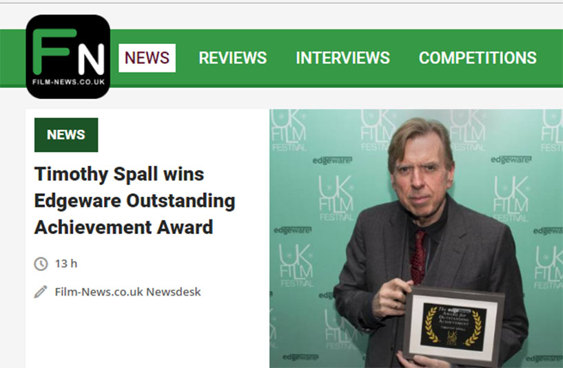 Timothy Spall wins Edgeware Outstanding Achievement Award.