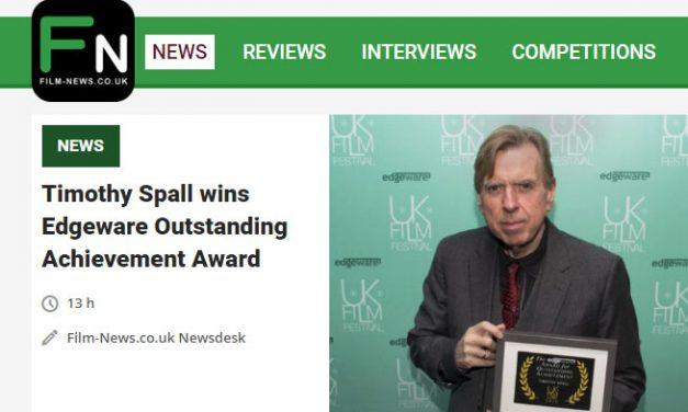 Timothy Spall wins Edgeware Outstanding Achievement Award.