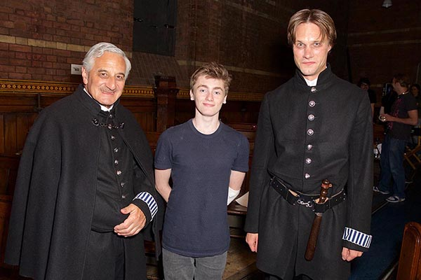 Henry Goodman, Jack & Hugh Skinner on set, for Edgar Allan Poe with Steven Berkoff