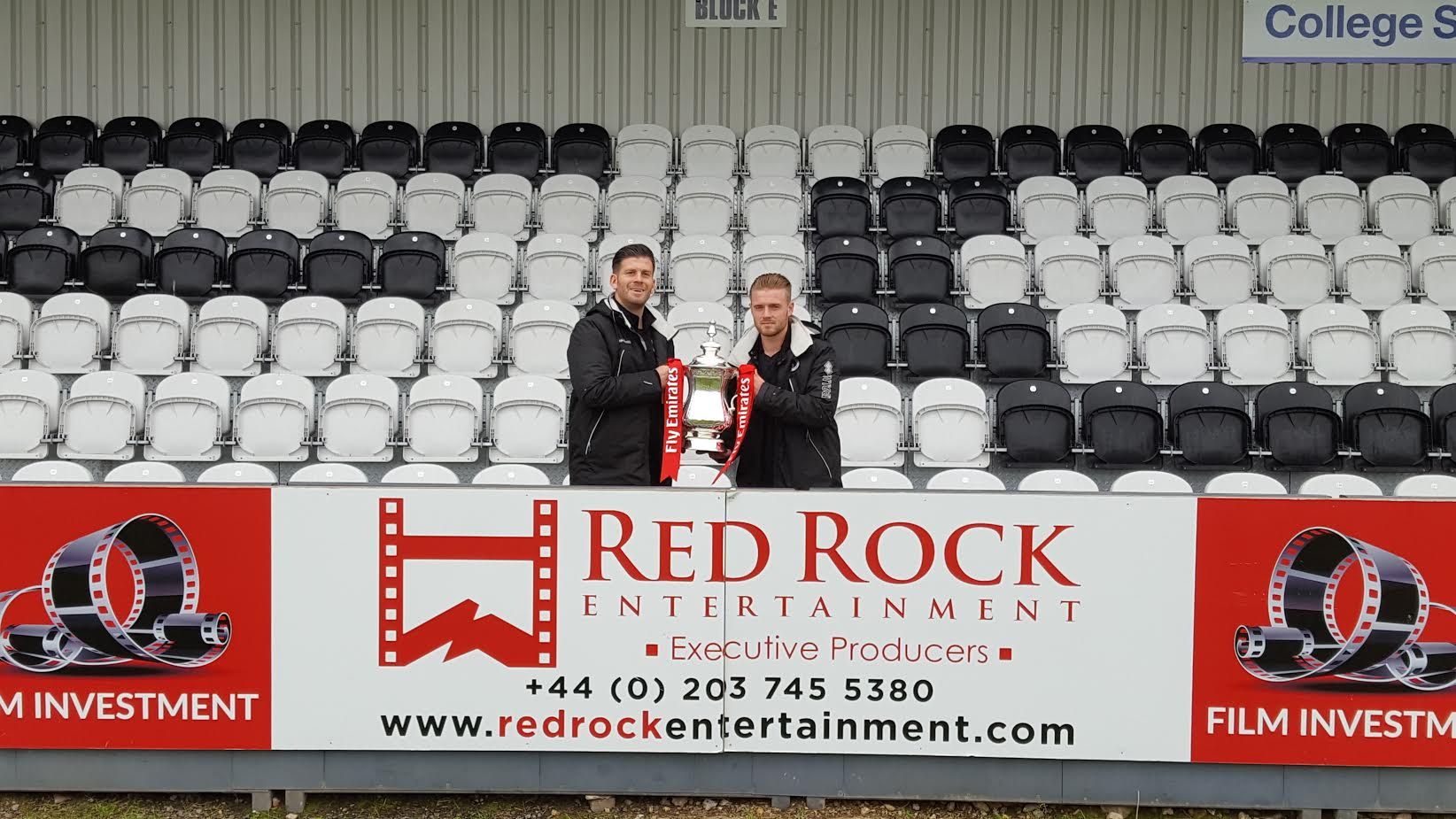 Fa Cup with Red Rock Sign at Boreham Fc.