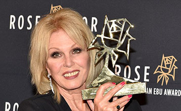 Joanna Lumley picks up the Lifetime Achievement Prize at the Rose D'Or Awards in Berlin.
