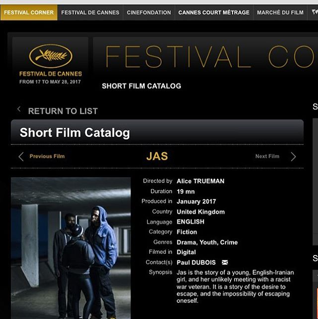 Jas by Alice Trueman has been accepted into the Cannes short film corner