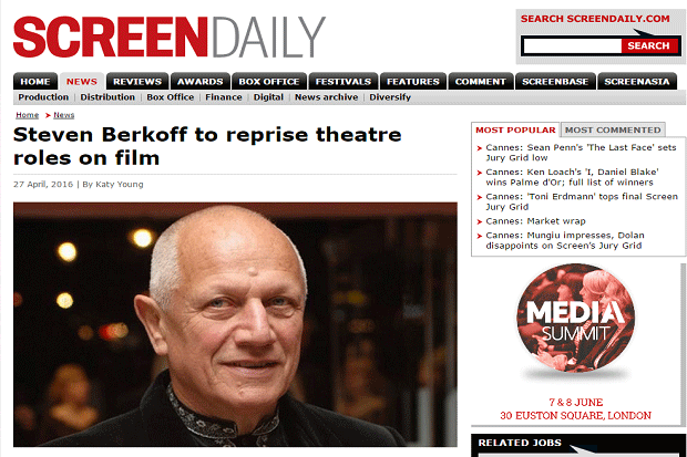 Screenshot of Steven Berkoff to reprise theatre roles on film article