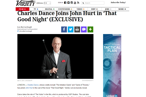 Charles Dance Joins John Hurt article screenshot
