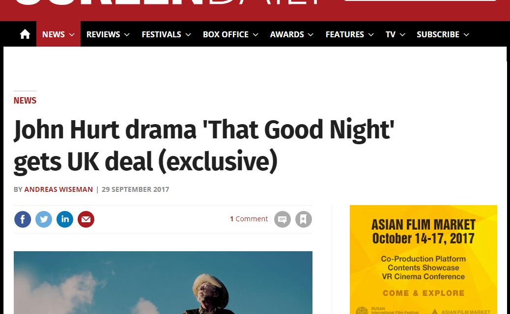 John Hurt drama 'That Good Night' gets UK deal (exclusive)