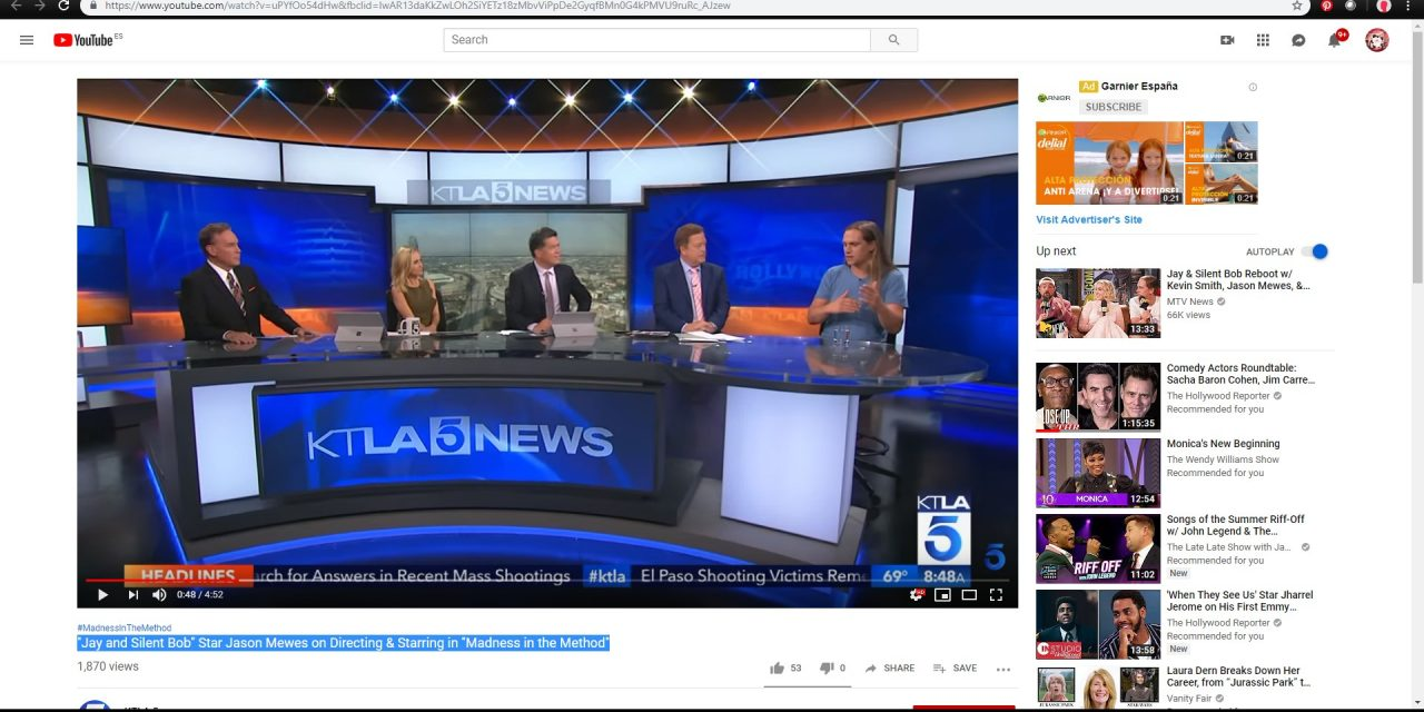 What a moment! Jay Mewes on KTLA 5 News speaking about Madness in the Method.